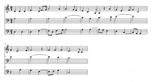 Figura 7. Sección del Agnus Dei de la primera Missa l'homme armé de Josquin des Prez.